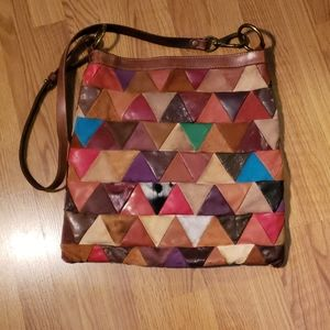 Lucky Brand suede patchwork cross body bag large
